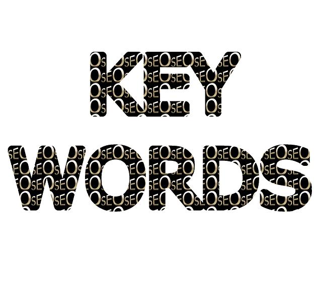 Der Begriff Keywords mit einem Muster aus den drei Buchstaben SEO.