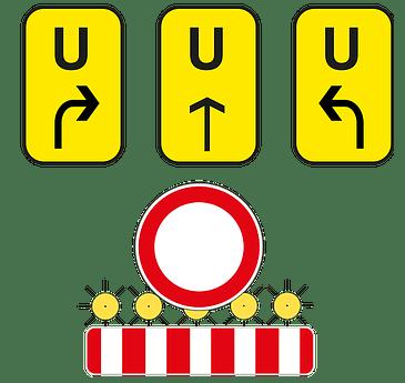 Verkehrsschilder zeigen Umleitung